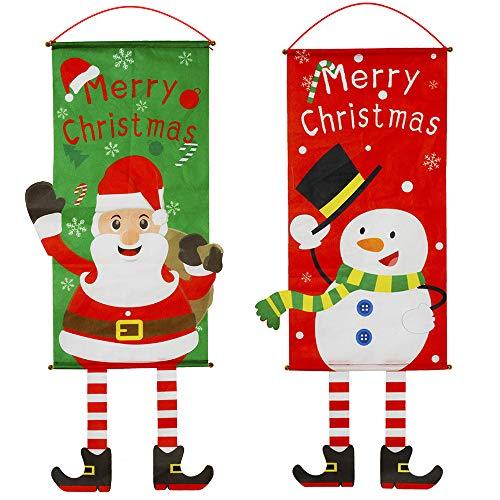 2 Stücke Weihnachts-Dekoration Haustür, Weihnachten Haustür Dekorationen Banner, 40 x 115 cm Niedlich Schneemann Weihnachtsmann Flagge für Haus, Garten, Innen, Außen Banner Weihnachtsdekorationen