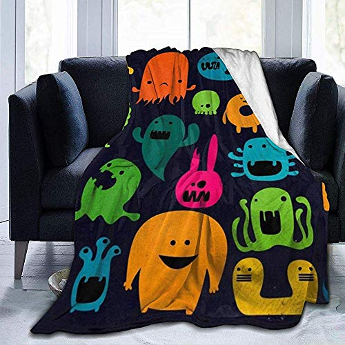 Cy-ril Throw Blanket Cute Monsters Manta de Felpa de Terciopelo de vellón Ultra Suave de Franela 100 X 130 cm