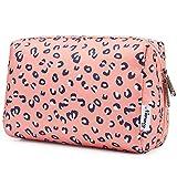 Bolsa de maquillaje grande con cremallera, organizador cosmético de viaje para mujeres y niñas, A-leopardo, Large,