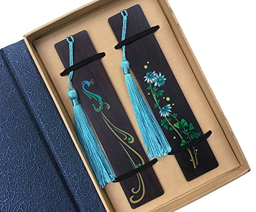 Melyaxu Handmade Natural Color Wooden Bookmark with Tassel - Peacocks and Orchids