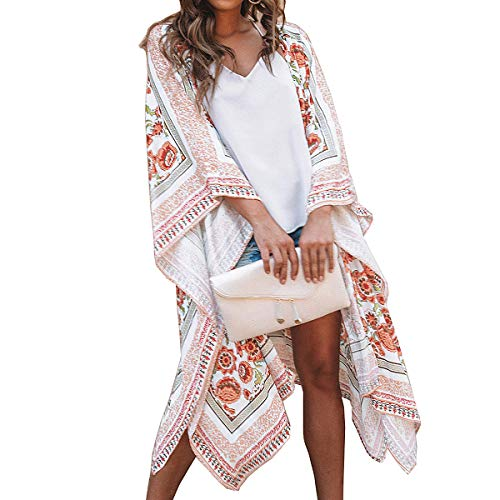 ECOMBOS - Kimono largo para mujer con estampado floral, para la playa, gasa o para el verano, estilo bohemio Multicolor-A. L