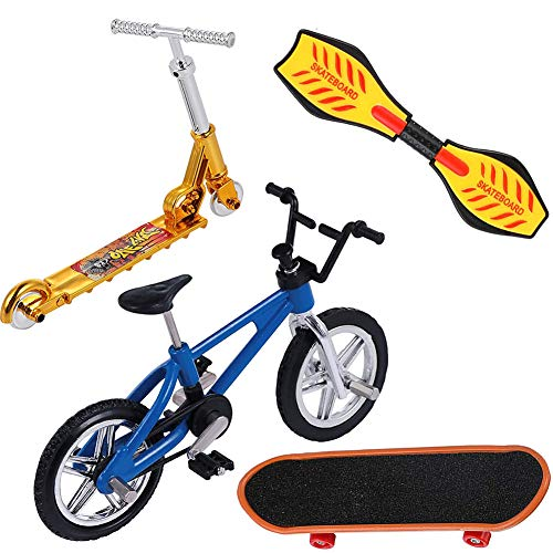 4 Piezas Mini Finger Juguetes Set, Mini Finger Skateboards Bicicletas Regalos De Cumpleaños Fingerboards Mini Deportes