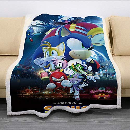 LXZ Mantas para Sofa,Anime Dibujos Animados Sonic Manta Doble Capa Cálido Suave Sofá Manta Oficina Manta De Siesta-021_El 150X130Cm