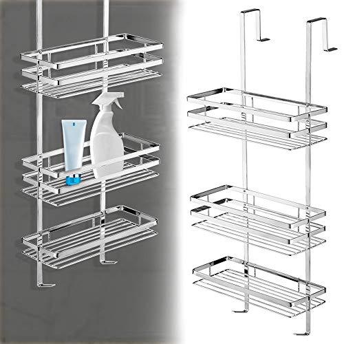 UISEBRT badkamerrek, doucheplank zonder boren, 80 cm, 3 planken om op te hangen aan de douchehoek, hygiënisch zilver