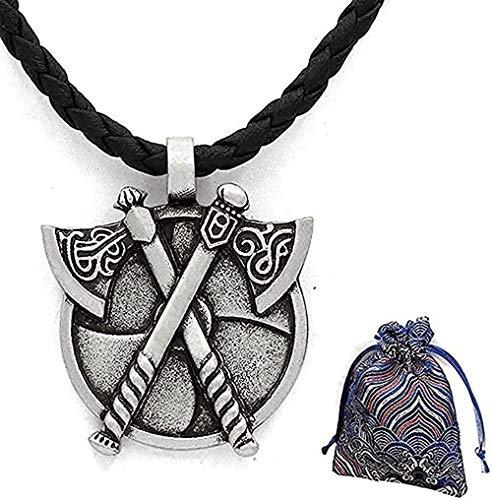 ZGYFJCH Co.,ltd Collar nórdico de Doble Eje para el Cuerpo, Medieval, bárbaro, Gladiador, Doble Escudo, Colgante de Peltre, Collar para Hombres y Mujeres, Colgante de 58 CM
