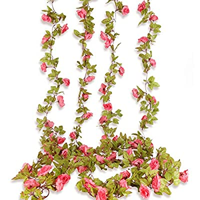 Beferr 4Pcs Artificial Rose Garlands Fake Silk ...