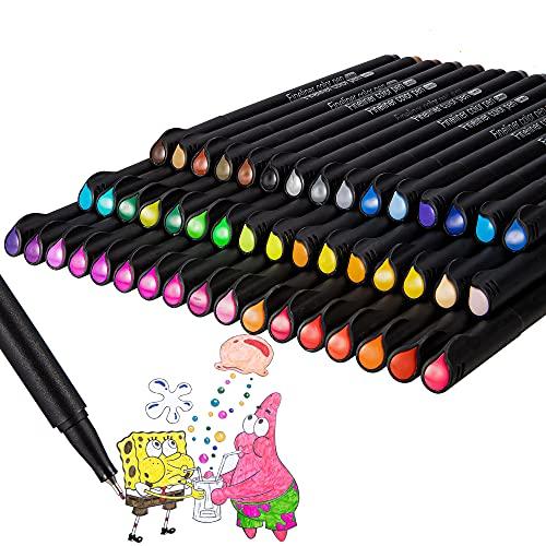 Fineliner Stifte,Bullet Journal 48 Stück Farbige Fineliner Stifte,0.4 mm Feine Filzstifte Farbig Stifte Set für Sketch,Schreiben,Tagebuch,Malen für Erwachsene,Präzisionszeichnen,Comics