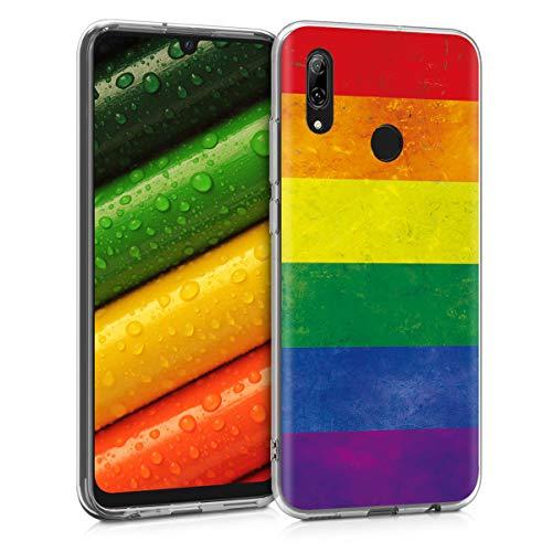 kwmobile Funda para Huawei P Smart (2019) - Carcasa de TPU para móvil y diseño Bandera arcoíris en Multicolor/Rojo/Azul