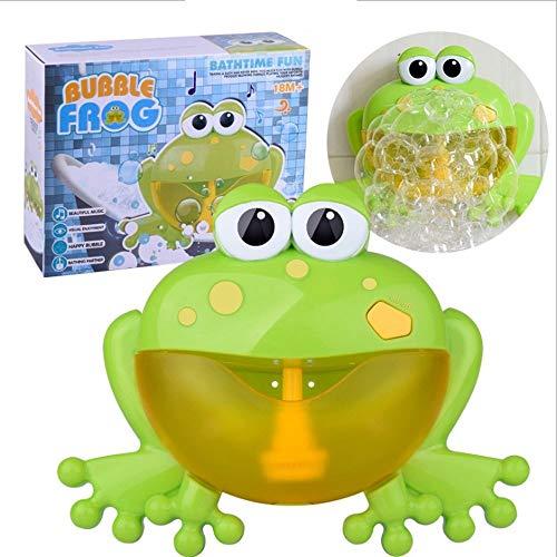 SSBH Frog Bubble Machine, Spit Bubble Frog Toy Built-in 12 Música, Bañera infantil Niños que se bañan Bebé Ducha de baño Agua Juguetes con rima infantil Para bebés infantiles Niños Niños Happy Tub Tim
