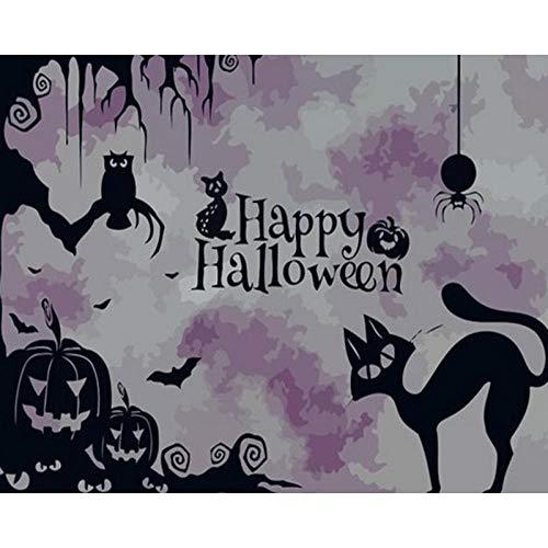 ARTEZXX DIY Verf door cijfers voor volwassenen Beginner Kids, Halloween behang Olieverf voor Home decoratie geschenk 16x20 inch Linnen Canvas Acryl verf (Zonder Frame)
