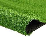 Quesuc Kunstrasen Teppich Springfield | Außenansicht für Terrasse und Balkon | Kunstrasen Wasserdurchlässig | Kann Drinnen und Draußen Verwendet Werden, Anti-UV Dunkelgrün 2.5CM Hoch (100x100 cm)