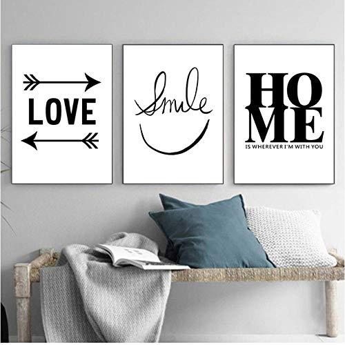 Smiley blanco y negro Frase cálida con pintura de lienzo de animales Lámina de póster Cuadro Minimalista Decoración de hogar Pintura 50x70cmx3 sin marco