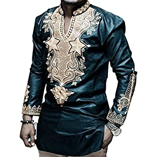 Dashiki Men Shirt African Hippie Vintage Women Top Haute Tribal Blouse (L)