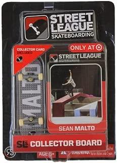 SLS Street League Skateboarding Fingerboard - Sean Malto - White Letters Over Gray Block Pattern