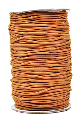Mandala Crafts Elastic Cord Stretchy String for Bracelets, Necklaces, Jewelry Making, Beading, Masks (Light Brown, 2mm 76 Yards)
