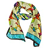 Wrapables Vibrant 100% Silk Long Scarf 51' x 10.5', Hummingbirds