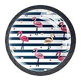 LXYDD Manijas para cajones Perillas para gabinetes Perillas Redondas Paquete de 4 para Armario, cajón, cómoda, cómoda, etc. Vector de Papel de Embalaje de Flamenco