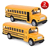Think Wing School Bus Toy for Toddlers - 5 Inch 2 Set Die-cast Play Vehicles Pull Back car for Kids