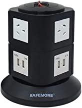 Vertical Power Board with 4 USB Ports and 6 Plugs, Black and White, (SM-GL2U002)