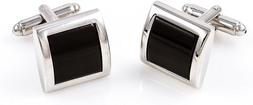 MRCUFF Black Onyx Square Designer Tuxedo Cufflinks & Studs Set in a Presentation Gift Box & Polishing Cloth