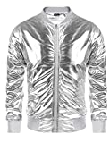 Men's Metallic 70s Disco Party Varsity Jacket Button Zip-up Baseball Bomber