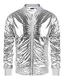 Coofandy Mens Metallic Nightclub Varsity Jacket Shiny Button Zip-up Baseball Bomber For Party,Disco,Dance,Silver,Medium