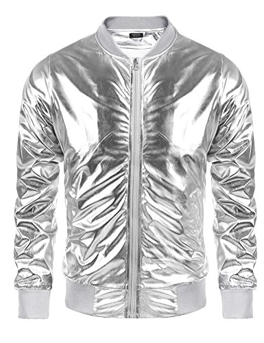 Coofandy Mens Metallic Nightclub Varsity Jacket Shiny Button Zip-up Baseball Bomber For Party,Disco,Dance,Silver,Medium