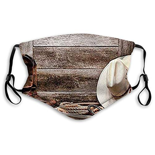 Western Authentic American Rodeo Items Lasso Hat Boots Horseshoe Rustic Wooden House Brown Cream Tan Reusable Face Mask Balaclava Washable Outdoor Nose Mouth Cover for Teens Child