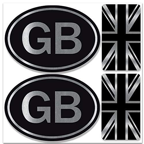 Biomar Labs Set Di 4 PVC Adesivi Stickers Inglese Argento Vinile Regno Unito UK Union Jack Flag GB Gran Bretagna Bandiera Per Auto Moto Finestrìno Porta Casco Scooter Bici PC Tablet Tuning D 58