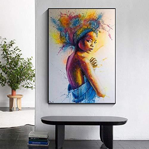 SXXRZA Cuadros de Pared 50x60cm sin Marco Graffiti Art Beauty Africa Girl Acuarela Abstracta Retrato de Arte Carteles e Impresiones para la decoración de la Sala de Estar