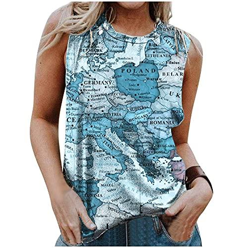 Camisetas sin Mangas con Cuello Redondo Y Estampado de Mapa de Verano para Mujer