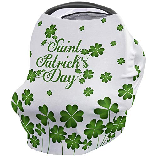 St. Patrick's Nursing Cover for Breastfeeding, Soft Multi Use for Baby Car Seat Covers Canopy Shopping Cart Cover Scarf Stroller Cover, Lucky Shamrocks Celtic Irish Clover Celebration Day