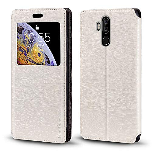 Oukitel K9 Case, Wood Grain Leather Case with Card Holder and Window, Magnetic Flip Cover for Oukitel K9