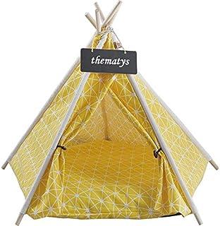 Sällskapsdjur tält för hundar och katter - tipi med kudde katt korg kudde - tvättbar (M, Style 8)