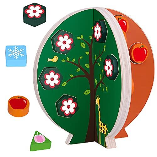 Juguetes Educativos para Niños Madera Clasificacion de Forma Geométricas, Montessori Juego de Bloques de Decoración del Hogar, Navidad Regalo de Aprendizaje para Niñas y Niños 3 4 5 + Años