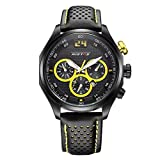 JJH-ENTER Reloj deportivo para hombre Reloj multifuncional de cuarzo resistente al agua con correa de cuero, yellow