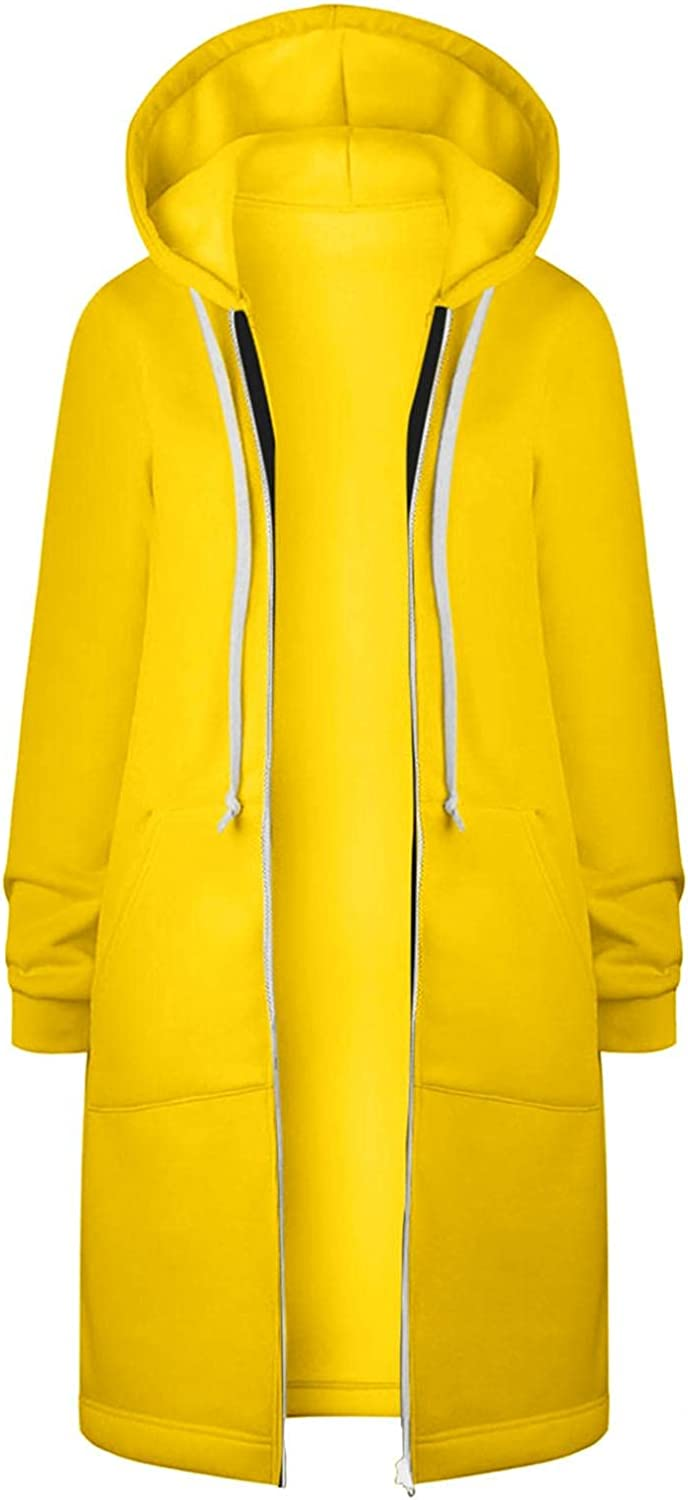 Cardigan Coats for Womens, Zipper Open Front Hooded Long Coat Solid Drawstring Windproof Jacket Outerwear with pockets