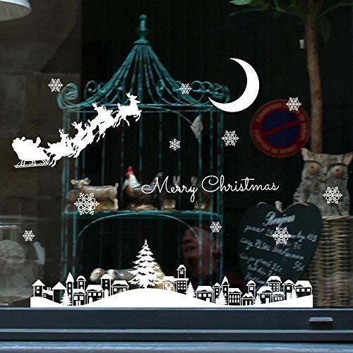 Aufkleber Weihnachten Fenster Schneeflocke Hirsch Elch Sticker Christmas Deko Weihnachtsaufkleber