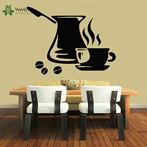 muurstickers zeepaardje, muursticker vinyl kunstenaar woondecoratie sticker verwijderbare muurschildering keuken poster koffie sticker Turkse cup85x114cm