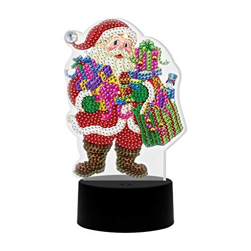 JWDYA DIY Pintura de Diamante en Forma Especial luz LED Santa Claus Bordado Diamantes de imitación lámpara de Noche Juego de Costura decoración de Mesa de Escritorio para el hogar Adorno