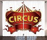 ABAKUHAUS Circo Cortinas, Carnaval Nocturno sesión, Sala de Estar Dormitorio Cortinas Ventana Set de Dos Paños, 280 x 225 cm, Amarillo Rojo Blanco