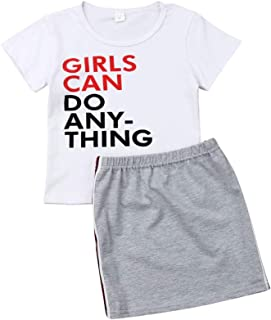 Toddler Baby Girl Skirt Set White Letter T-Shirt Top+ Grey Straight Pencil Dress Summer Outfits