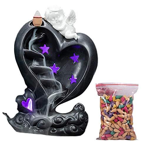 Rückfluss Räuchergefäß Halter Wasserfall - Keramik Amor Aromatherapie Ornament Wohnkultur Räucherstäbchenhalter mit LED-Licht & 50 Rückfluss Räucherkegel für Umweltreinigung Yoga Haus Dekoration