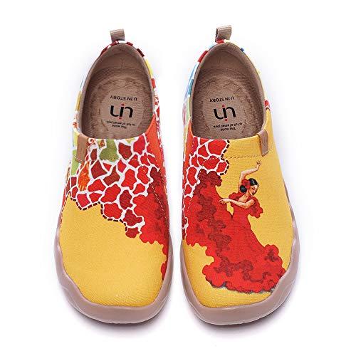 UIN Viva la Vida Damen Slip On Schuhe Bunter Reiseschuh Wanderschuhe Sneaker Leicht Loafer Shoes Reise Schuhe Segelschuhe Canvas Gelb(39)