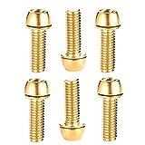 Selotrot 6 Piezas Chapado en Titanio Color Tornillos M5*18mm para Montaña Manillar Bici - Oro
