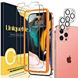 UniqueMe [2+2 pièces] Verre Trempé Compatible avec iPhone 12 Pro Max 6,7 +[Sans Bulles] Protection écran Camera Verre Trempe avec Outil d'installation [facile installer] Service après-Vente Parfait.