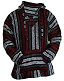 Mexican Baja Hoodie Hippie Surf Poncho Sweater Sweatshirt Pullover Jerga (Medium, Red/Gray)
