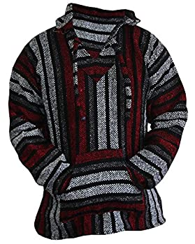 Mexican Baja Hoodie Hippie Surf Poncho Sweater Sweatshirt Pullover Jerga  Large Red/Gray