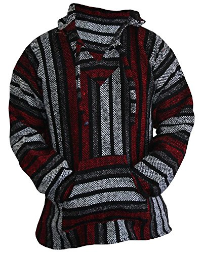 Del Mex Mexican Baja Hoodie Hippie Surf Poncho Sweater Sweatshirt Pullover Jerga (X-Large, Red/Gray)