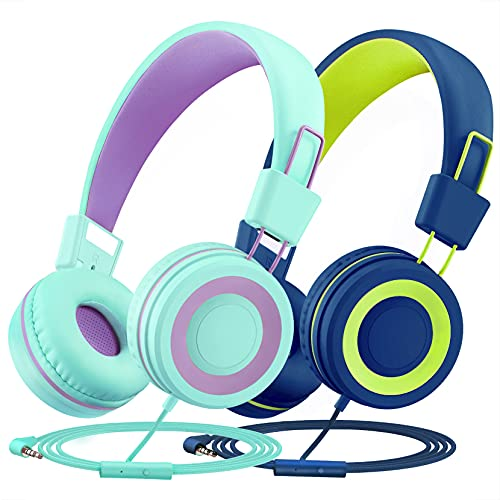 Kids Headphones with Microphone for School 2 Pack, Wired On Ear Headphones for Kids with 91dB Volume Limit, Online Learning Headsets with Sharing Splitter for Boys Girls Travel